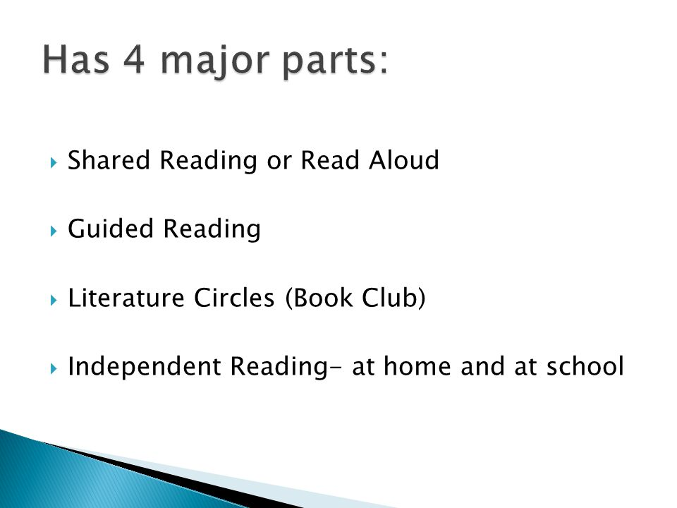  Shared Reading or Read Aloud  Guided Reading  Literature Circles (Book Club)  Independent Reading- at home and at school