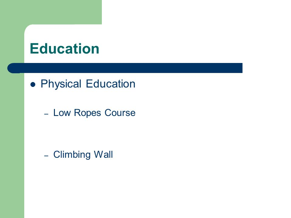 Education Physical Education – Low Ropes Course – Climbing Wall