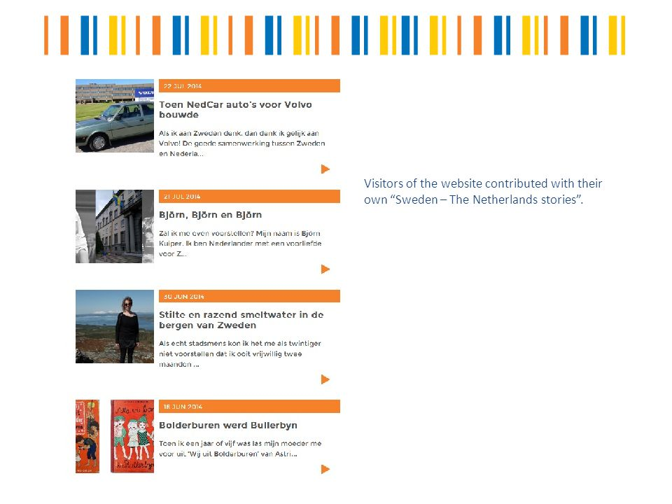 Visitors of the website contributed with their own Sweden – The Netherlands stories .