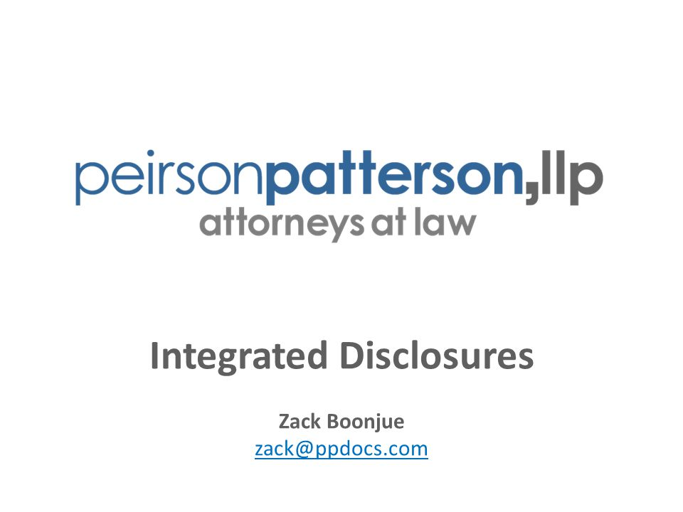Integrated Disclosures Zack Boonjue