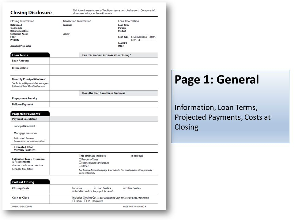 Page 1: General Information, Loan Terms, Projected Payments, Costs at Closing