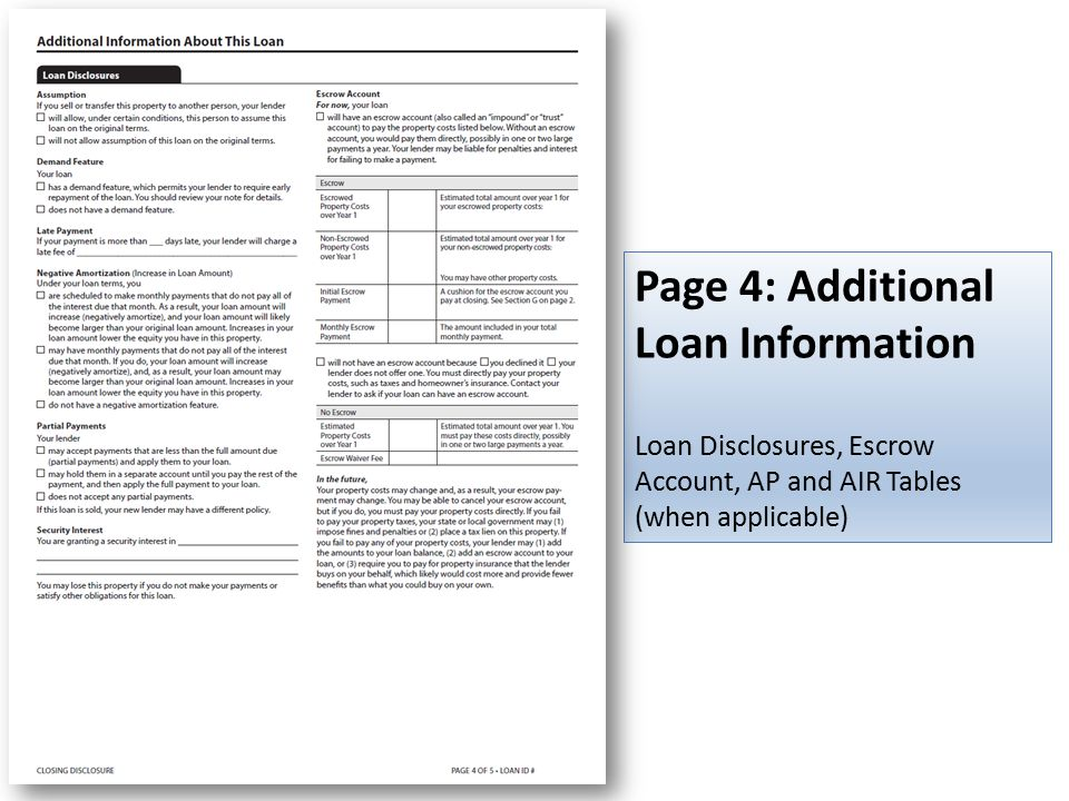 Page 4: Additional Loan Information Loan Disclosures, Escrow Account, AP and AIR Tables (when applicable)