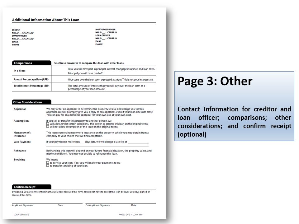 Page 3: Other Contact information for creditor and loan officer; comparisons; other considerations; and confirm receipt (optional)