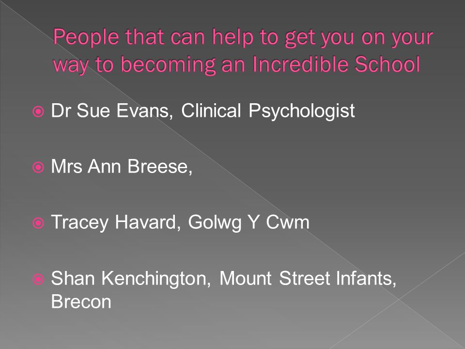 Dr Sue Evans, Clinical Psychologist  Mrs Ann Breese,  Tracey Havard, Golwg Y Cwm  Shan Kenchington, Mount Street Infants, Brecon