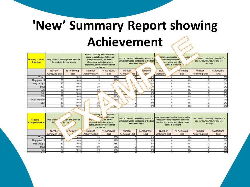 New' Summary Report showing Achievement