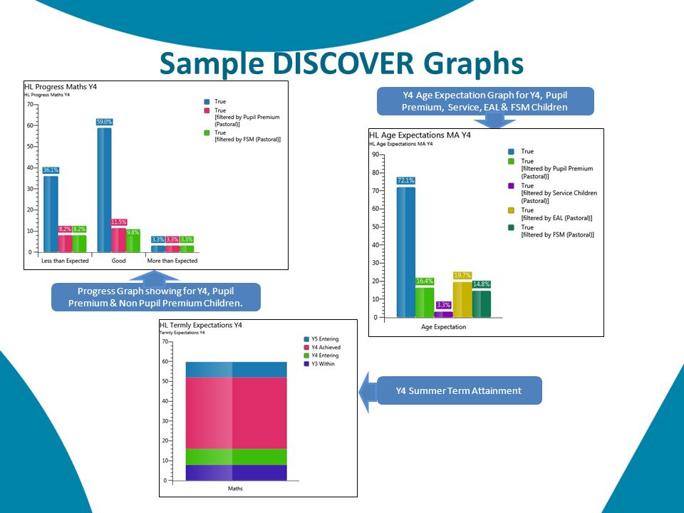 Sample DISCOVER Graphs Progress Graph showing for Y4, Pupil Premium & Non Pupil Premium Children.