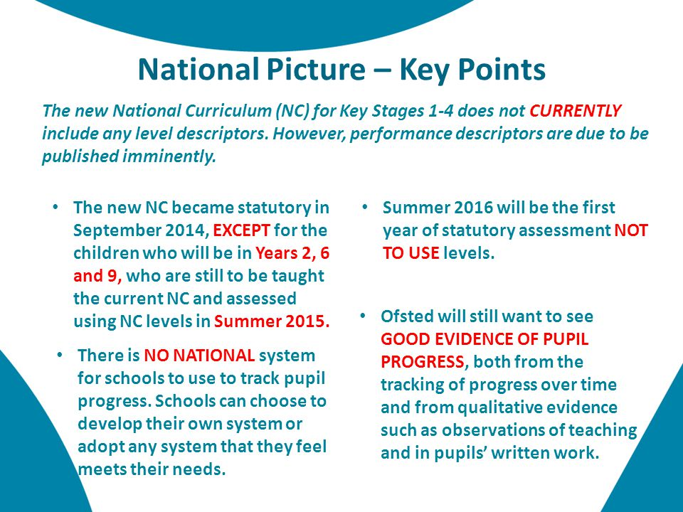 National Picture – Key Points The new National Curriculum (NC) for Key Stages 1-4 does not CURRENTLY include any level descriptors.