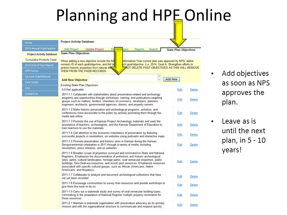 Planning and HPF Online Add objectives as soon as NPS approves the plan.
