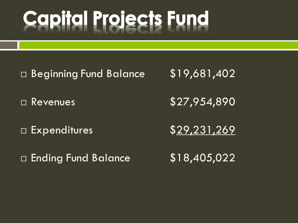  Beginning Fund Balance$19,681,402  Revenues$27,954,890  Expenditures$29,231,269  Ending Fund Balance$18,405,022