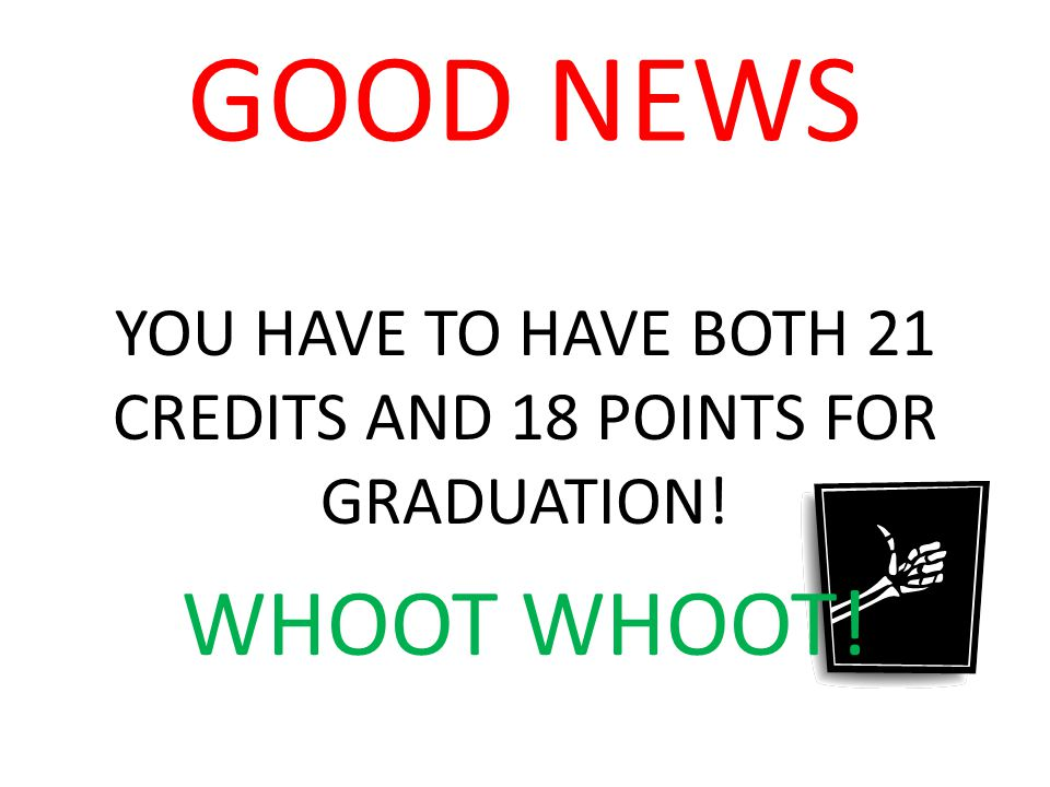 GOOD NEWS YOU HAVE TO HAVE BOTH 21 CREDITS AND 18 POINTS FOR GRADUATION! WHOOT WHOOT!