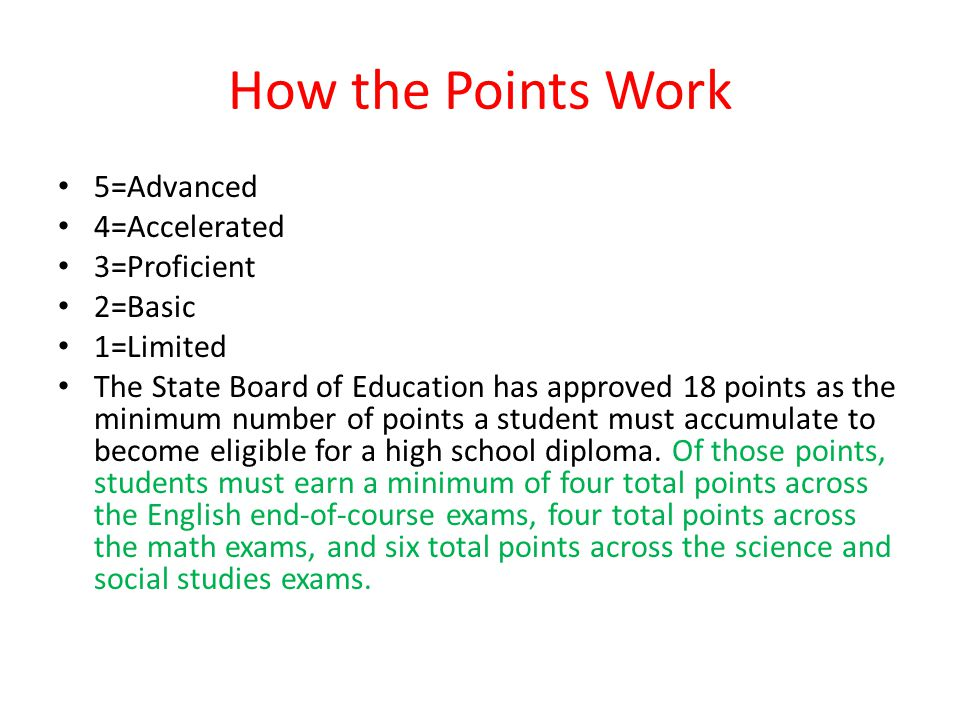 How the Points Work 5=Advanced 4=Accelerated 3=Proficient 2=Basic 1=Limited The State Board of Education has approved 18 points as the minimum number of points a student must accumulate to become eligible for a high school diploma.