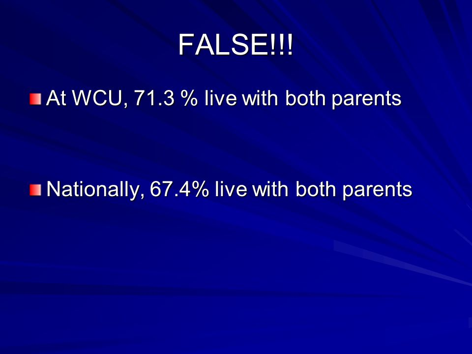 FALSE!!! At WCU, 71.3 % live with both parents Nationally, 67.4% live with both parents
