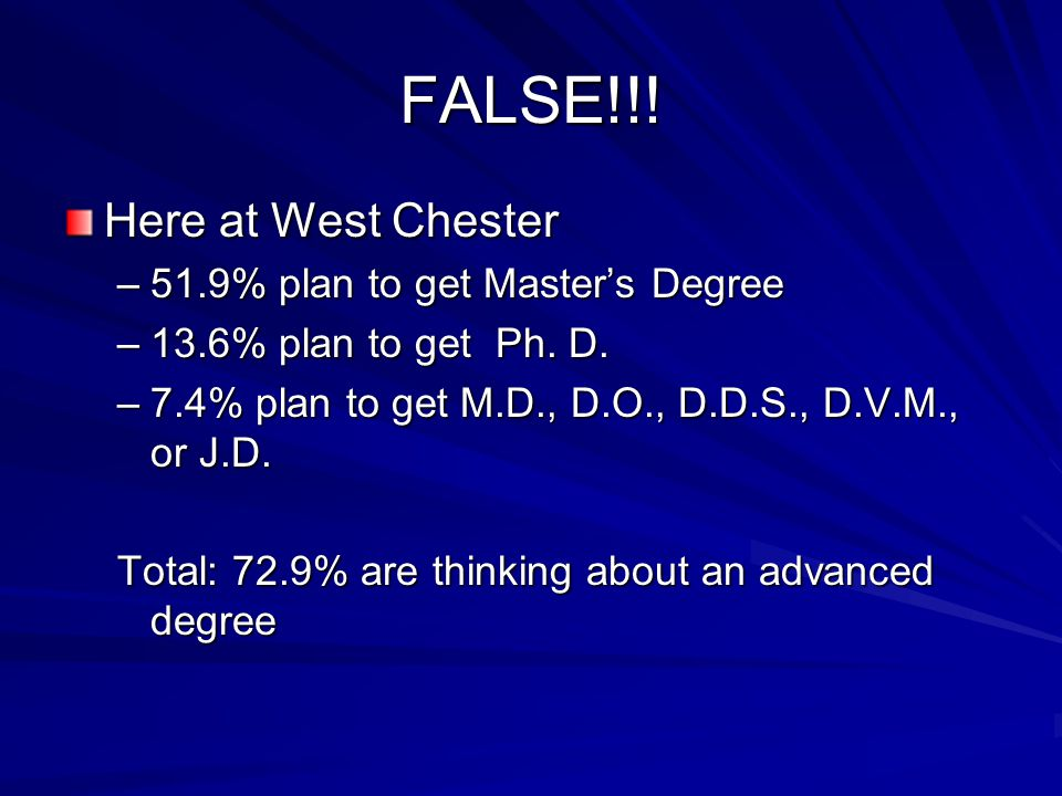 FALSE!!. Here at West Chester –51.9% plan to get Master's Degree –13.6% plan to get Ph.