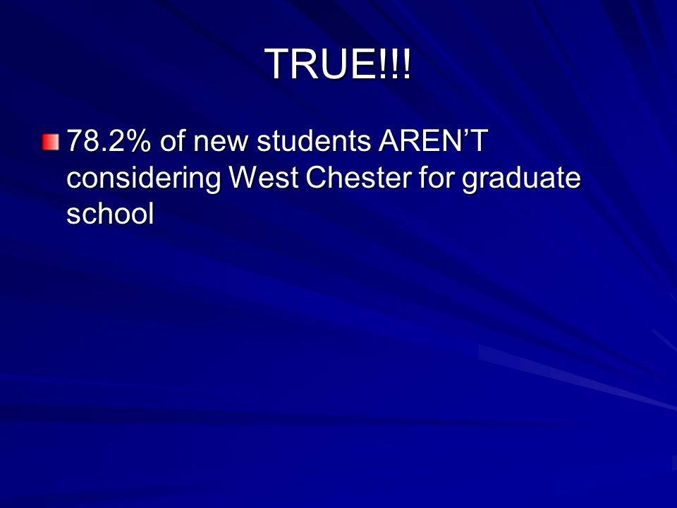 TRUE!!! 78.2% of new students AREN'T considering West Chester for graduate school