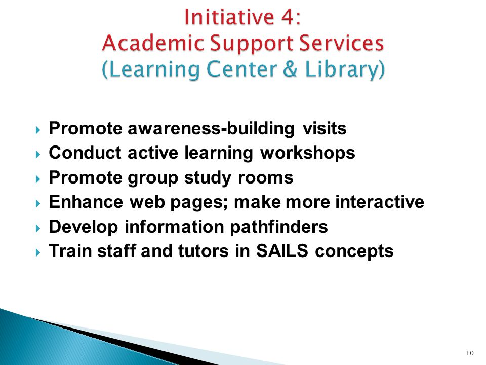  Promote awareness-building visits  Conduct active learning workshops  Promote group study rooms  Enhance web pages; make more interactive  Develop information pathfinders  Train staff and tutors in SAILS concepts 10