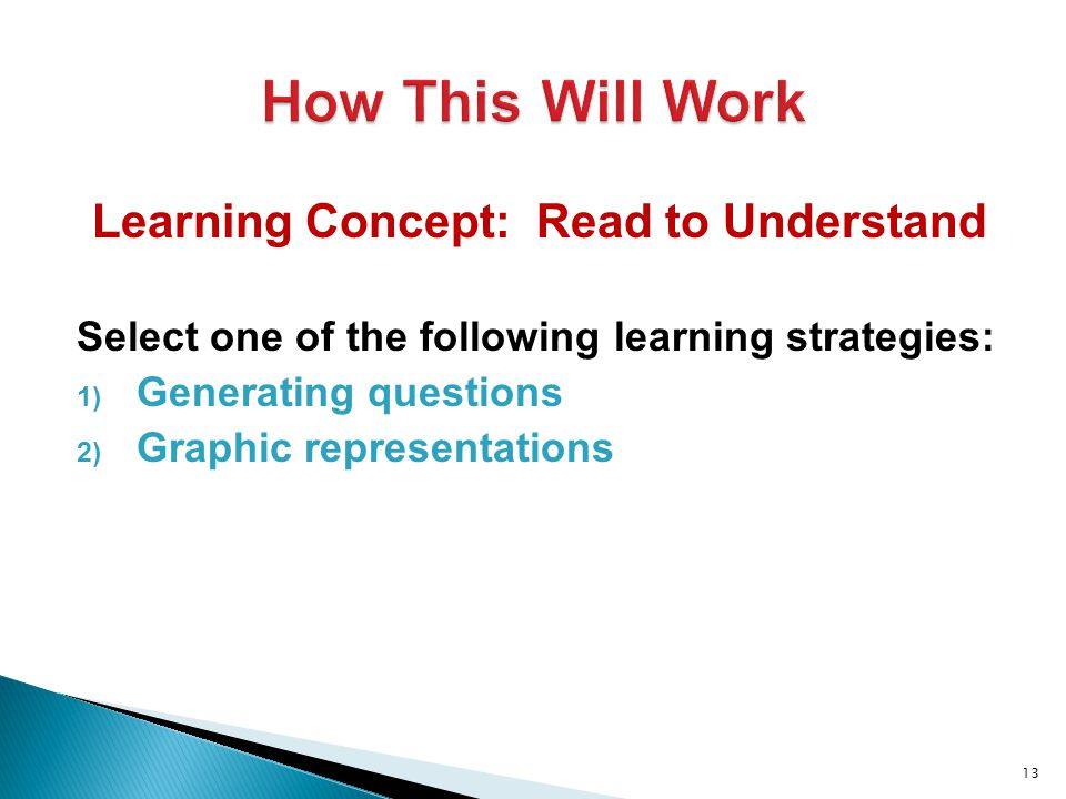 Learning Concept: Read to Understand Select one of the following learning strategies: 1) Generating questions 2) Graphic representations 13