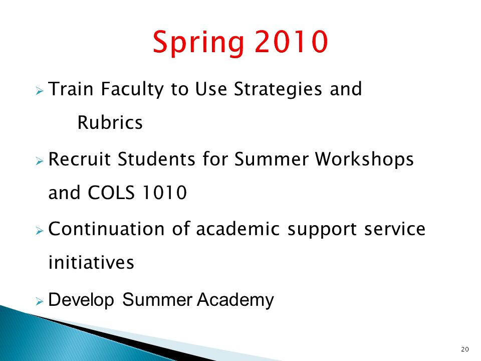  Train Faculty to Use Strategies and Rubrics  Recruit Students for Summer Workshops and COLS 1010  Continuation of academic support service initiatives  Develop Summer Academy 20
