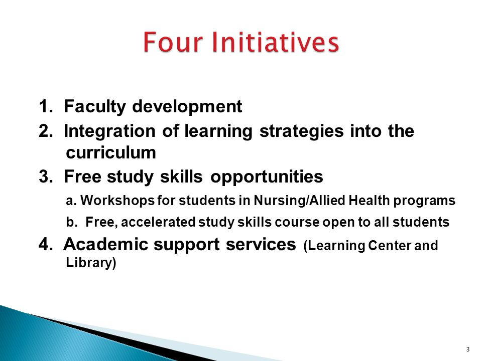 1. Faculty development 2. Integration of learning strategies into the curriculum 3.