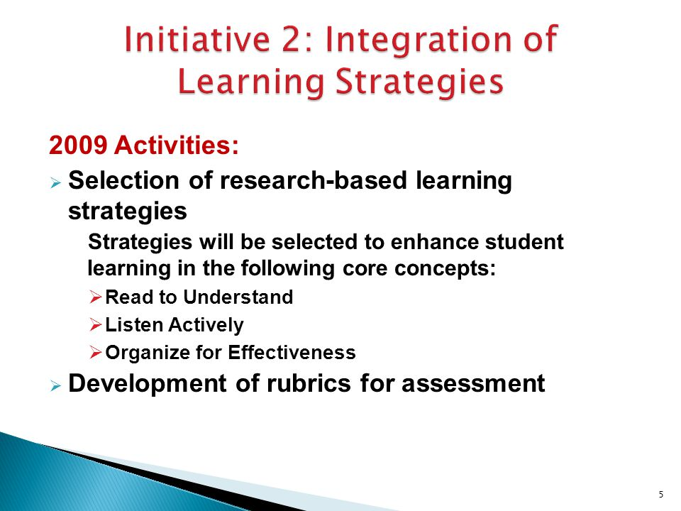 2009 Activities:  Selection of research-based learning strategies Strategies will be selected to enhance student learning in the following core concepts:  Read to Understand  Listen Actively  Organize for Effectiveness  Development of rubrics for assessment 5