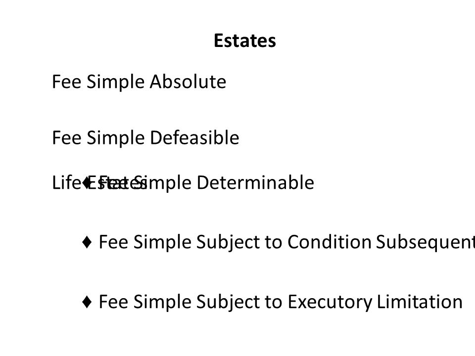 Estates Fee Simple Absolute Fee Simple Defeasible ♦ Fee Simple Determinable ♦ Fee Simple Subject to Condition Subsequent ♦ Fee Simple Subject to Executory Limitation Life Estates