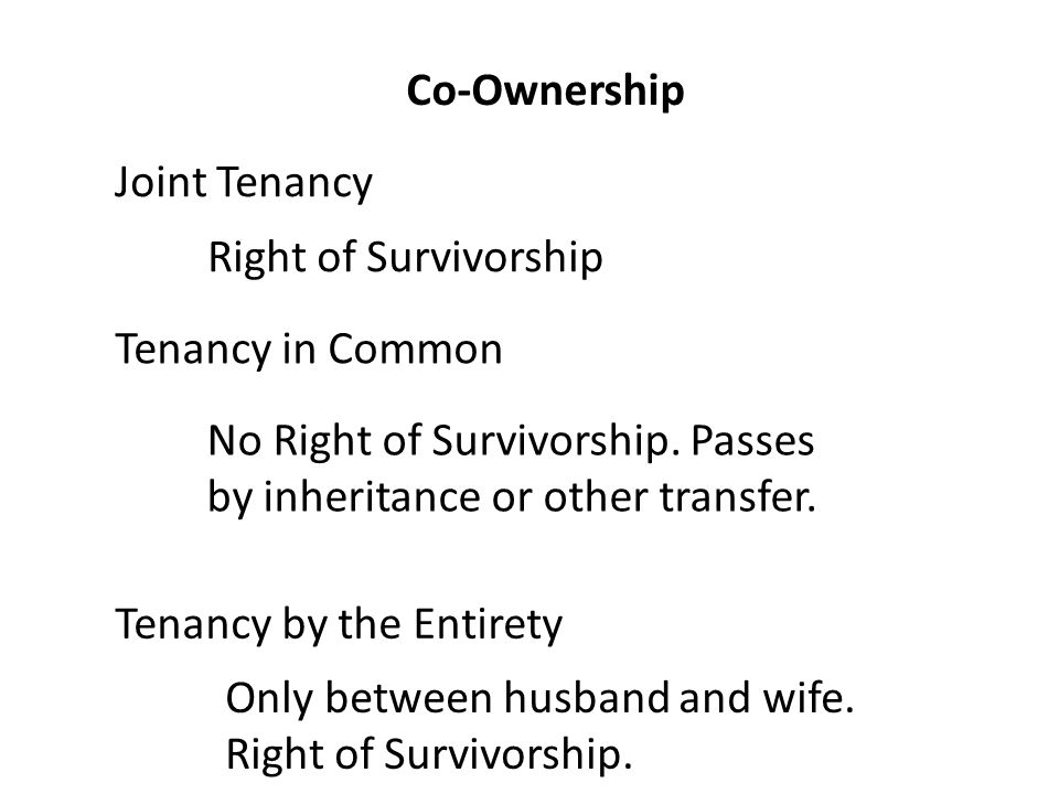 Co-Ownership Joint Tenancy Tenancy in Common Right of Survivorship No Right of Survivorship.