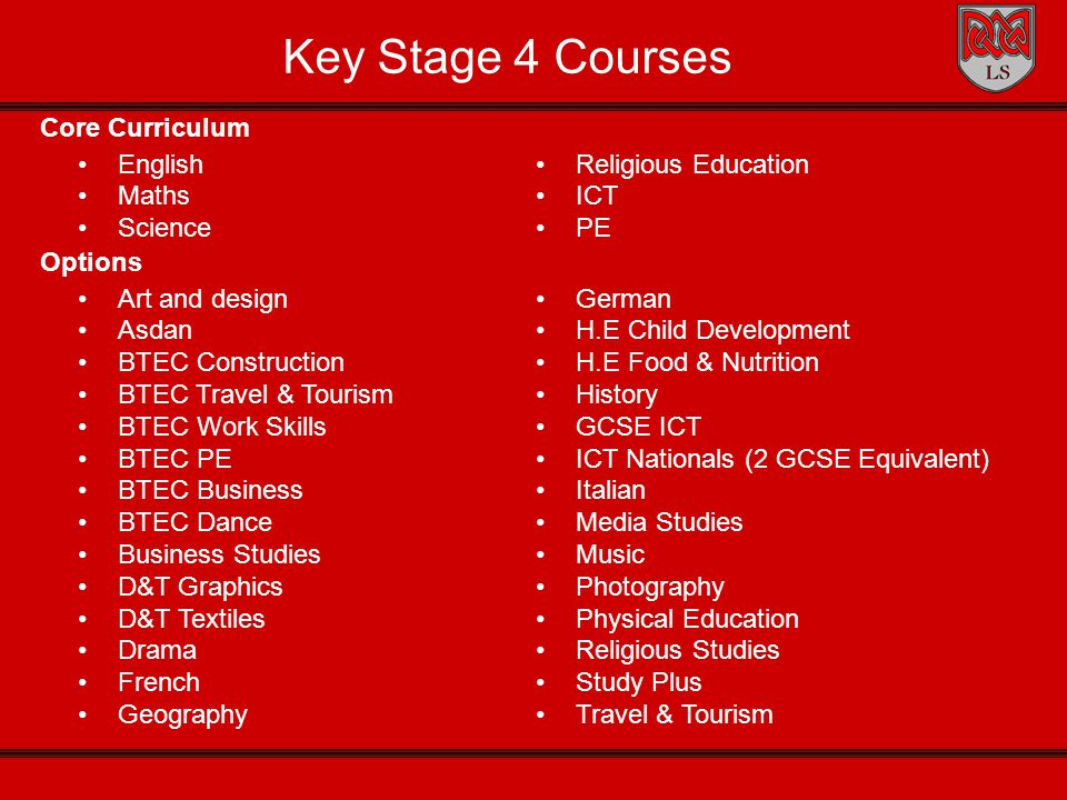 Key Stage 4 Courses Art and design Asdan BTEC Construction BTEC Travel & Tourism BTEC Work Skills BTEC PE BTEC Business BTEC Dance Business Studies D&T Graphics D&T Textiles Drama French Geography German H.E Child Development H.E Food & Nutrition History GCSE ICT ICT Nationals (2 GCSE Equivalent) Italian Media Studies Music Photography Physical Education Religious Studies Study Plus Travel & Tourism Core Curriculum English Maths Science Options Religious Education ICT PE