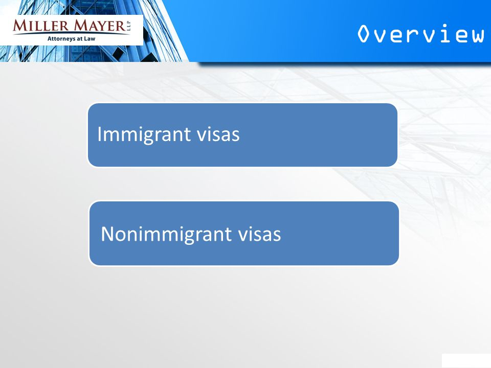 Overview Immigrant visas Nonimmigrant visas