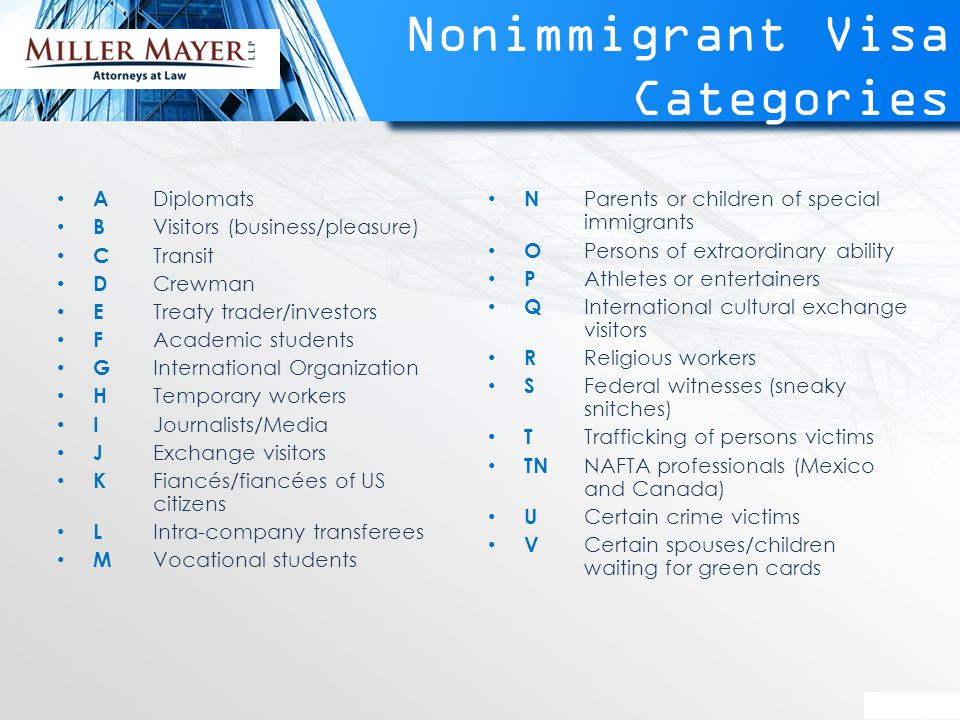 Nonimmigrant Visa Categories A Diplomats B Visitors (business/pleasure) C Transit D Crewman E Treaty trader/investors F Academic students G International Organization H Temporary workers I Journalists/Media J Exchange visitors K Fiancés/fiancées of US citizens L Intra-company transferees M Vocational students N Parents or children of special immigrants O Persons of extraordinary ability P Athletes or entertainers Q International cultural exchange visitors R Religious workers S Federal witnesses (sneaky snitches) T Trafficking of persons victims TN NAFTA professionals (Mexico and Canada) U Certain crime victims V Certain spouses/children waiting for green cards