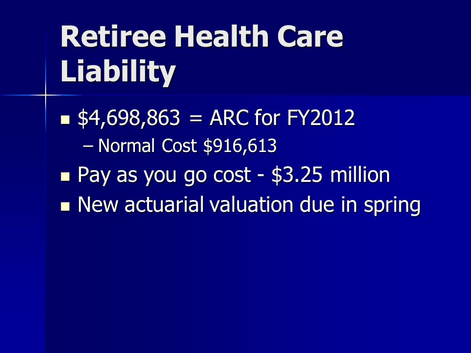 Retiree Health Care Liability $4,698,863 = ARC for FY2012 $4,698,863 = ARC for FY2012 –Normal Cost $916,613 Pay as you go cost - $3.25 million Pay as you go cost - $3.25 million New actuarial valuation due in spring New actuarial valuation due in spring