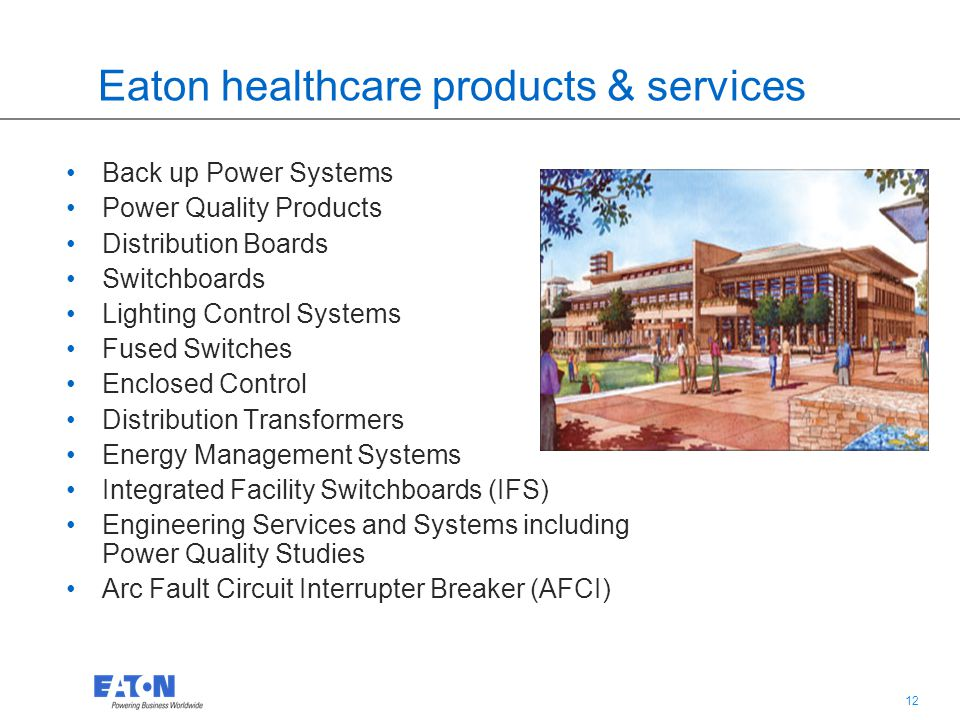 11 Eaton's power quality business is a global leader in power management products and services.