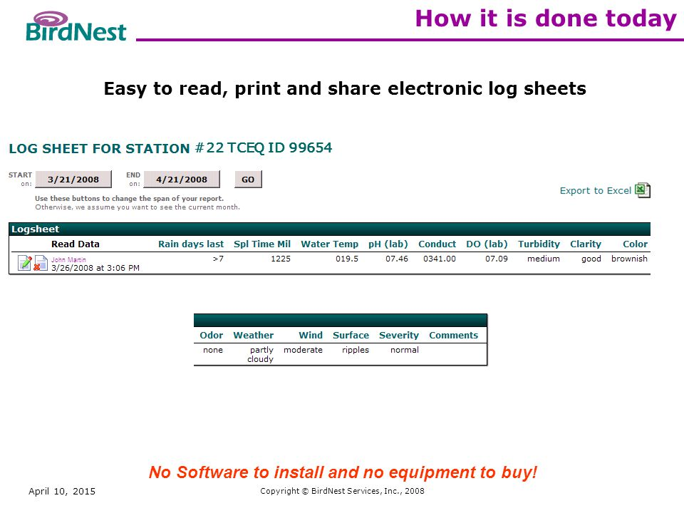 April 10, 2015 Copyright © BirdNest Services, Inc., 2008 How it is done today Easy to read, print and share electronic log sheets John Martin #22 TCEQ ID 99654 No Software to install and no equipment to buy!