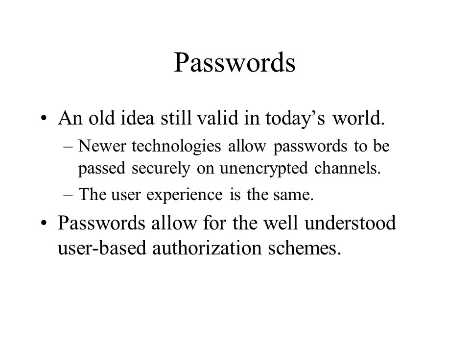 Passwords An old idea still valid in today's world.