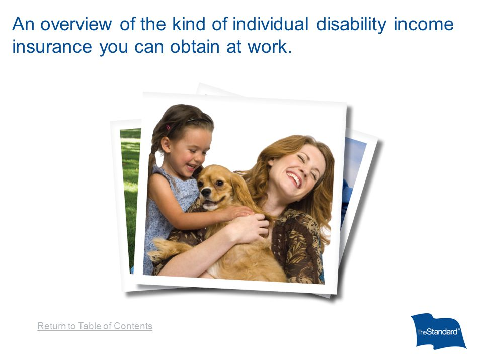 An overview of the kind of individual disability income insurance you can obtain at work.