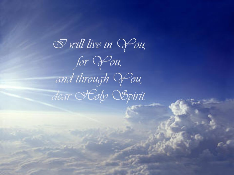 I will live in You, for You, and through You, dear Holy Spirit.