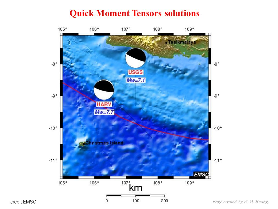 credit EMSC Quick Moment Tensors solutions Page created by W. G. Huang