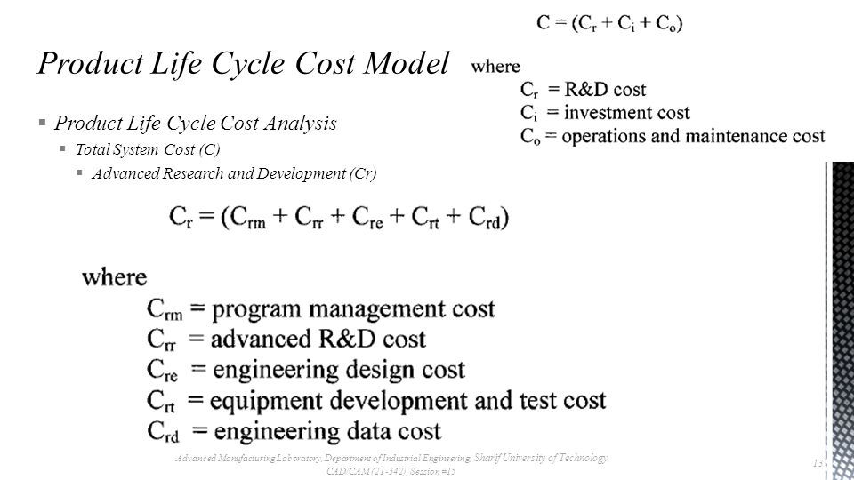  Product Life Cycle Cost Analysis  Total System Cost (C)  Advanced Research and Development (Cr) Advanced Manufacturing Laboratory, Department of Industrial Engineering, Sharif University of Technology CAD/CAM (21-342), Session #15 13