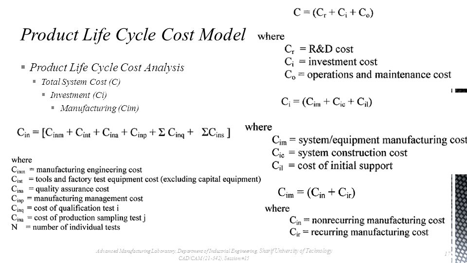  Product Life Cycle Cost Analysis  Total System Cost (C)  Investment (Ci)  Manufacturing (Cim) Advanced Manufacturing Laboratory, Department of Industrial Engineering, Sharif University of Technology CAD/CAM (21-342), Session #15 17