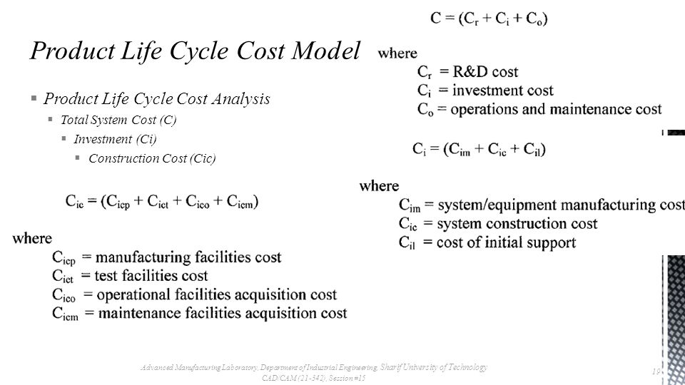  Product Life Cycle Cost Analysis  Total System Cost (C)  Investment (Ci)  Construction Cost (Cic) Advanced Manufacturing Laboratory, Department of Industrial Engineering, Sharif University of Technology CAD/CAM (21-342), Session #15 19