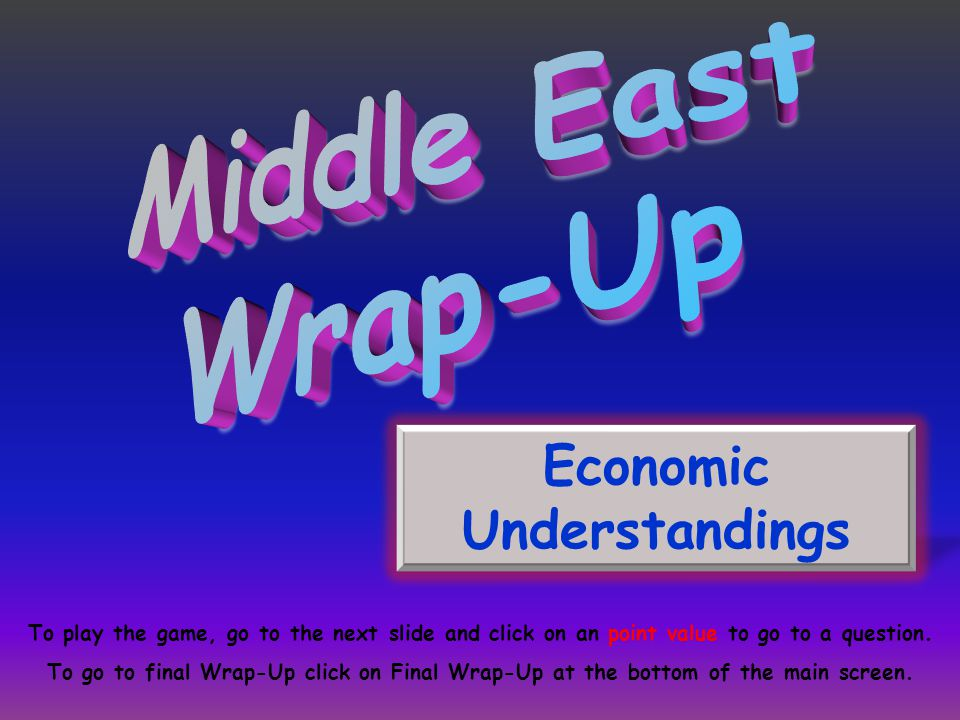 Economic Understandings To play the game, go to the next slide and click on an point value to go to a question.