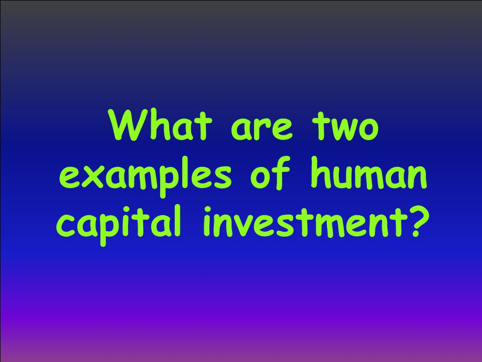 What are two examples of human capital investment