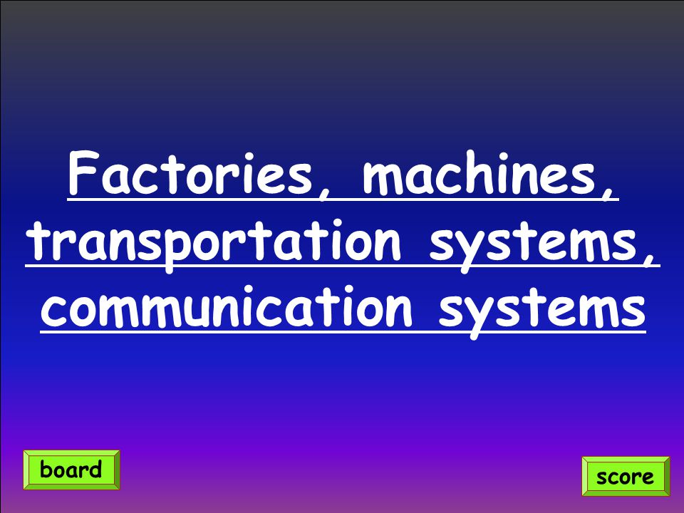 Factories, machines, transportation systems, communication systems score board