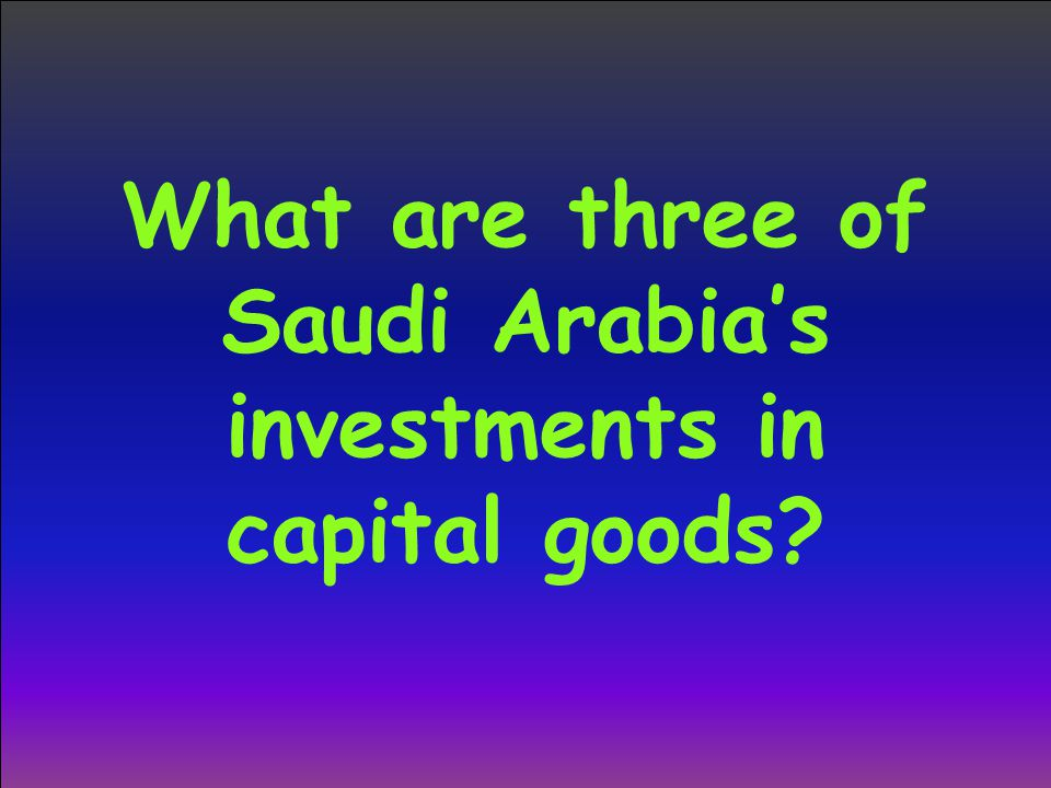 What are three of Saudi Arabia's investments in capital goods