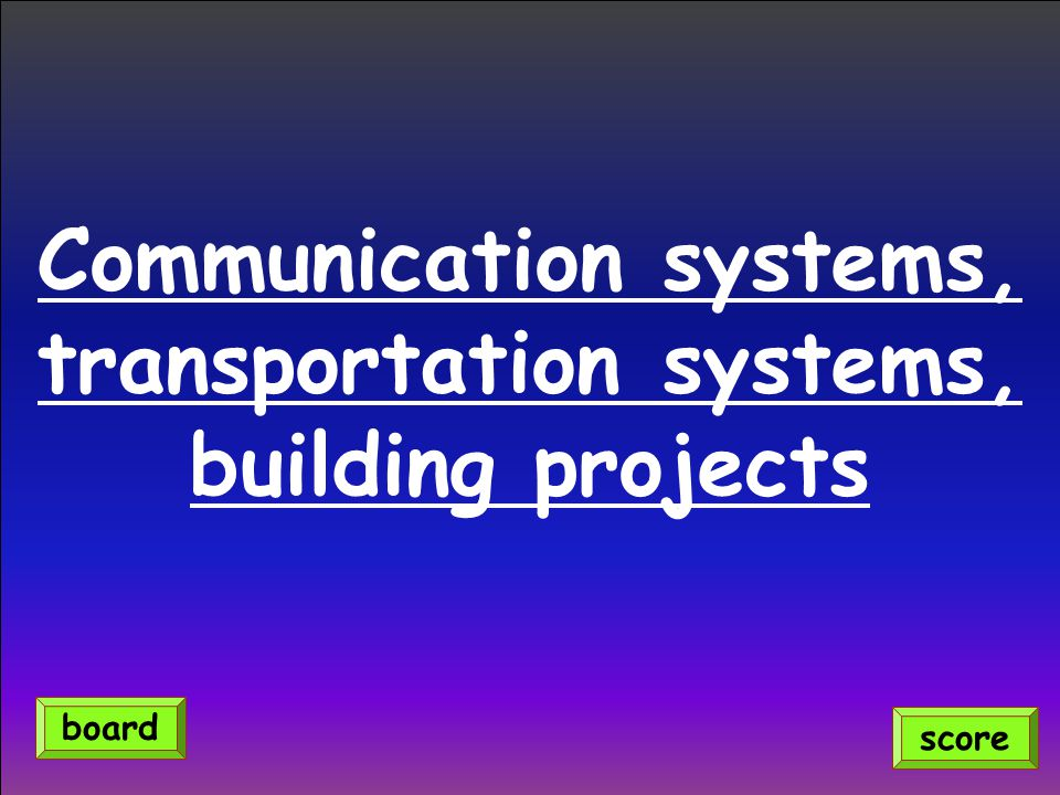 Communication systems, transportation systems, building projects score board