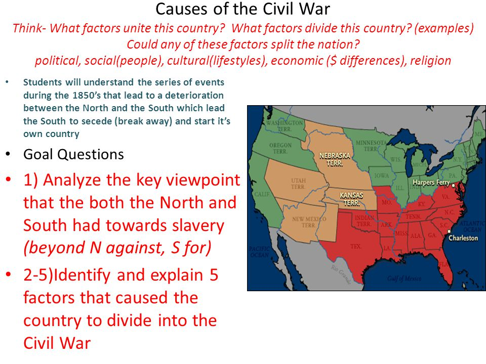Causes of the Civil War Think- What factors unite this country.