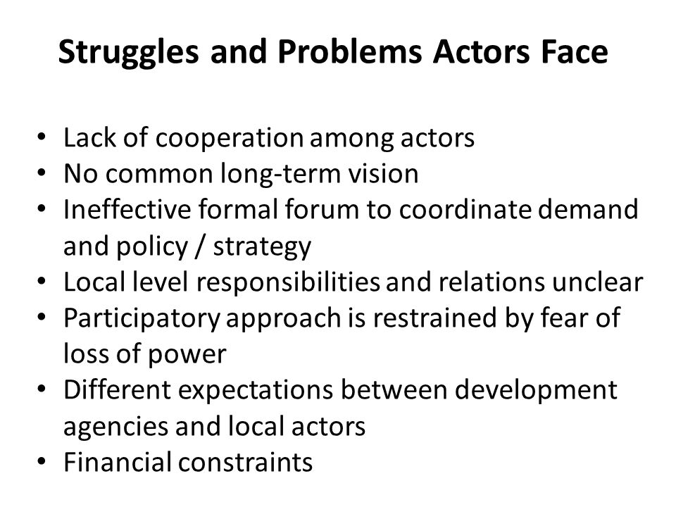 Struggles and Problems Actors Face Lack of cooperation among actors No common long-term vision Ineffective formal forum to coordinate demand and policy / strategy Local level responsibilities and relations unclear Participatory approach is restrained by fear of loss of power Different expectations between development agencies and local actors Financial constraints