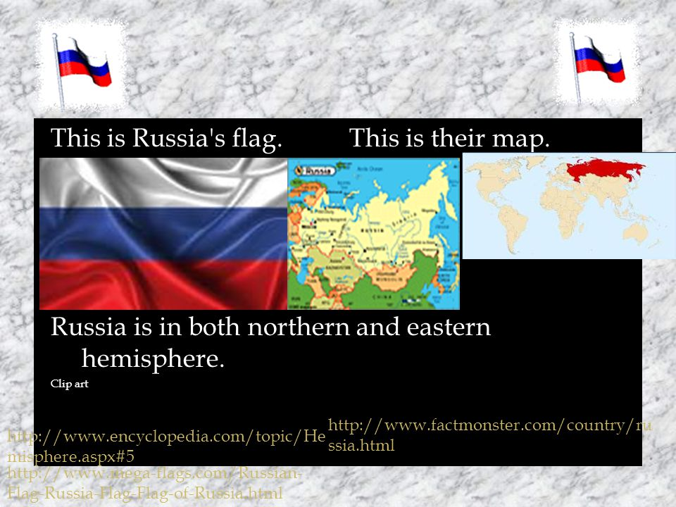 This is Russia s flag. This is their map. Russia is in both northern and eastern hemisphere.