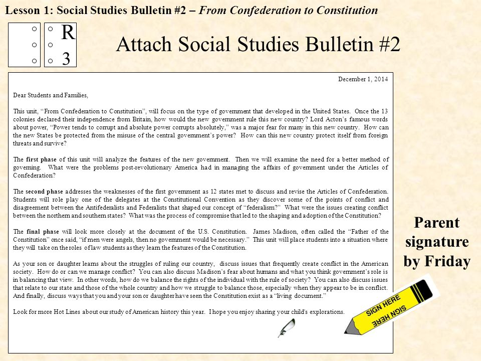Attach Social Studies Bulletin #2 Lesson 1: Social Studies Bulletin #2 – From Confederation to Constitution December 1, 2014 Dear Students and Families, This unit, From Confederation to Constitution , will focus on the type of government that developed in the United States.