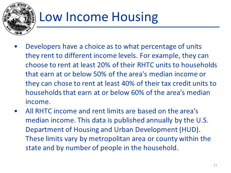 Low Income Housing Developers have a choice as to what percentage of units they rent to different income levels.
