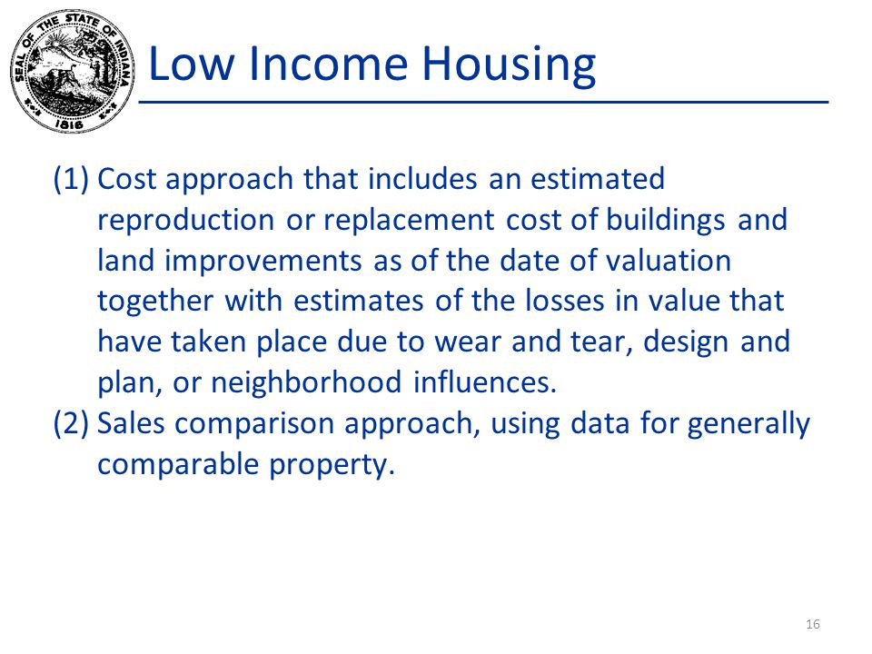 Low Income Housing (1)Cost approach that includes an estimated reproduction or replacement cost of buildings and land improvements as of the date of valuation together with estimates of the losses in value that have taken place due to wear and tear, design and plan, or neighborhood influences.