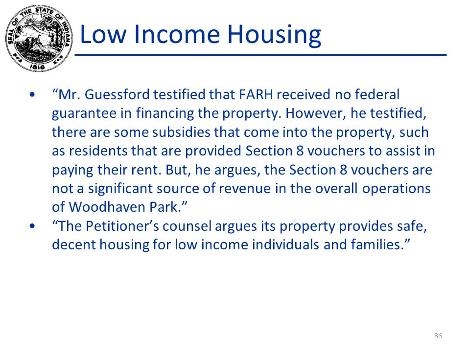 Low Income Housing Mr.